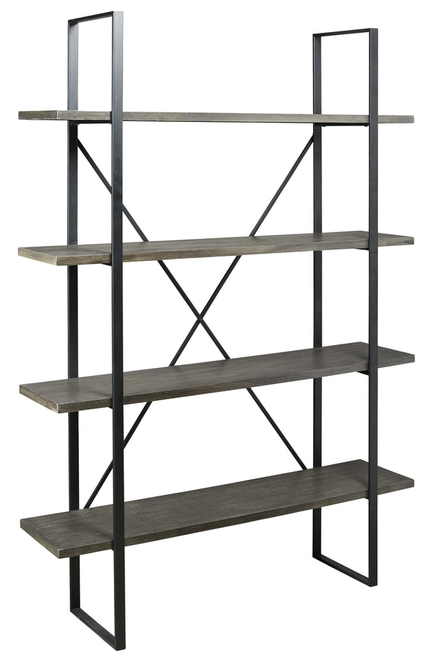 4 Tier Rectangle Metal Frame Bookcase with X Shaped Support in Black and Gray - BM210645