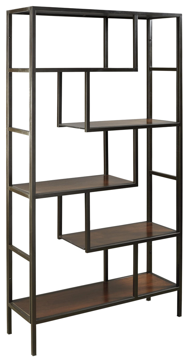 5 Shelves Asymmetric Design Bookcase with Metal Frame in Brown and Black - BM210649
