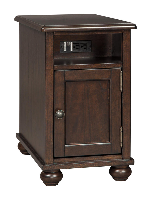 Chair Side End Table with Open Compartment and Power Strip in Brown - BM210680