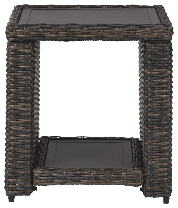 Handwoven Wicker End Table with Open Shelf in Brown and Black - BM210785