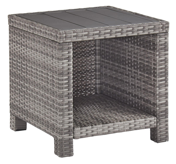 Handwoven Wicker End Table with Plank Style Top and Metal Frame in Gray - BM210786