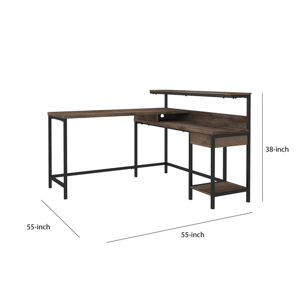 L Shaped Wooden Writing Desk with 1 Drawer and Bottom Shelf,Brown and Black - BM210789