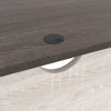 L Shaped Writing Desk with File Drawer and Bottom Shelf in Gray and White - BM210794