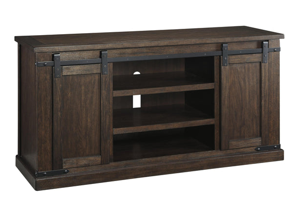Large Wooden TV Stand with 2 Barn Sliding Doors and 6 Shelves in Brown - BM210795