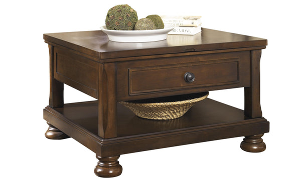 Lift Top Cocktail Table with Open Bottom Shelf and Bun Feet in Brown - BM210818