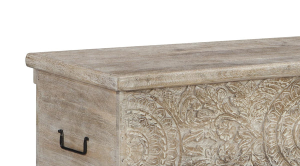 Medallion Pattern Wooden Storage Bench with Hinged Opening in White - BM210821