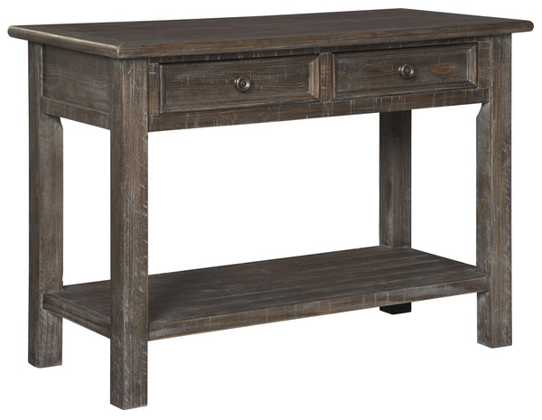 Plank Style Wooden Sofa Table with 2 Drawers and 1 Open Shelf in Rustic Brown - BM210838