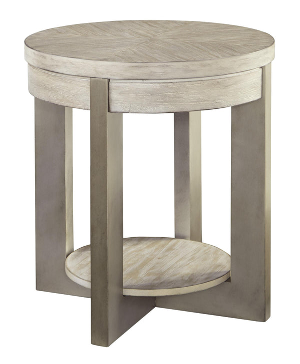 Round Wooden Frame End Table with Open Shelf in Light Brown - BM210873
