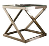 Square Glass Top Metal Frame End Table with X Shape Legs in Silver and Clear - BM210878