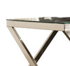 C Shaped Faux Marble Top Metal Accent Table, Black and Silver - BM206533
