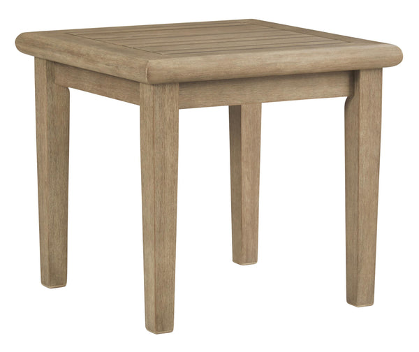 Square Wooden Frame End Table with Plank Tabletop in Teak Brown - BM210890