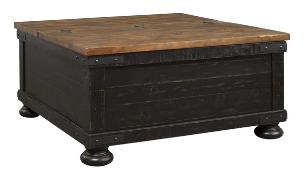 Square Wooden Lift Top Cocktail Table with Trunk Storage in Brown and Black - BM210892