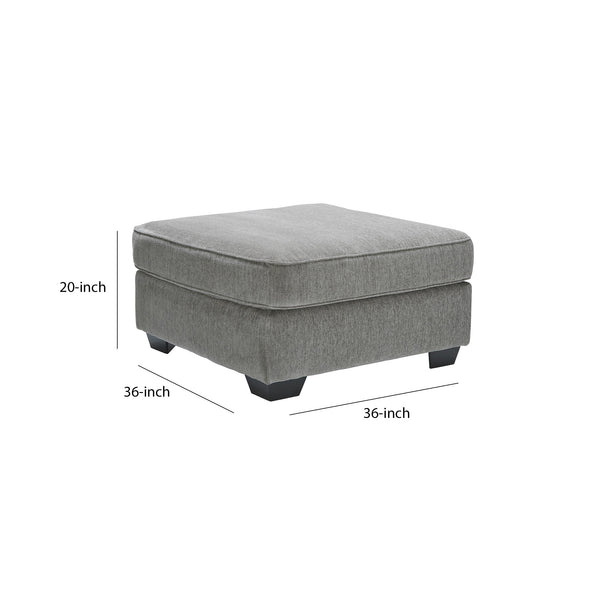 Square Wooden Oversized Ottoman with Textured Fabric Upholstery in Gray - BM210893