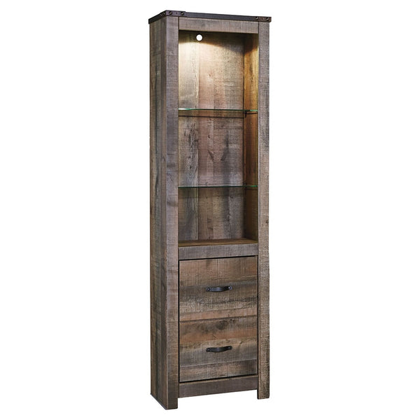 Tall Wooden Pier with 1 Door Cabinet and 2 Adjustable Glass Shelves in Brown - BM210896