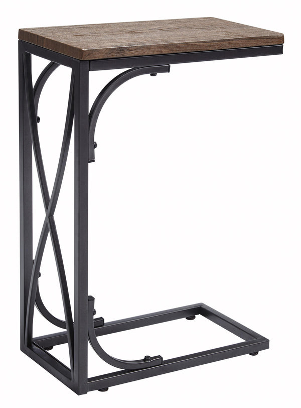Two Tone Cantilever Wood and Metal Chair Side End Table in Brown and Black - BM210912
