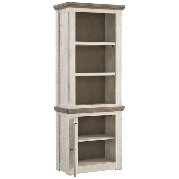 Wooden Left Pier Cabinet with 1 Door and 2 Shelves in Antique White and Brown - BM210951
