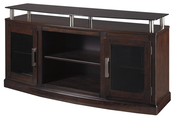 Wooden TV Stand with 2 Doors and Raised Glass Top in Medium in Brown - BM210993