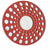 Contemporary Wooden Round Wall Decor with Circle Cut Outs, Red and Silver - BM211047