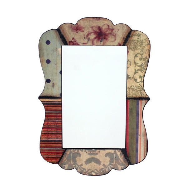 Scalloped Design Mirror Wall Decor with Handcrafted Pattern, Multicolor - BM211060