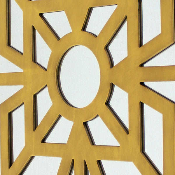 Mirrored Wall Decor with Wooden Floral Overlay on Top, Gold and Silver - BM211073