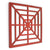 Wooden Wall Decor with Concentric Square Design on Top, Red and Silver - BM211074