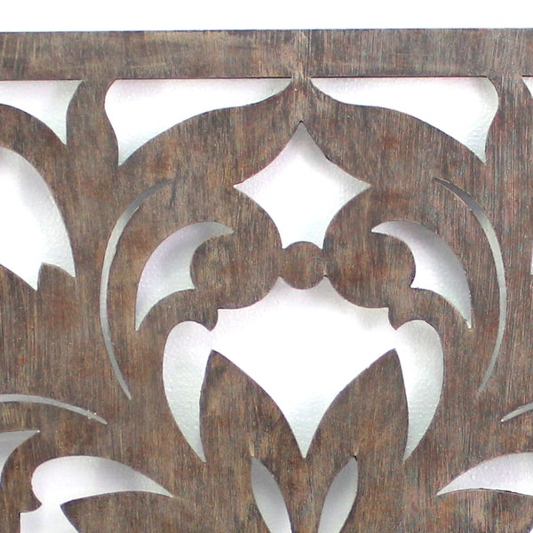 Traditional Square Shape Wooden Wall Decor with Floral Engraving, Brown - BM211080
