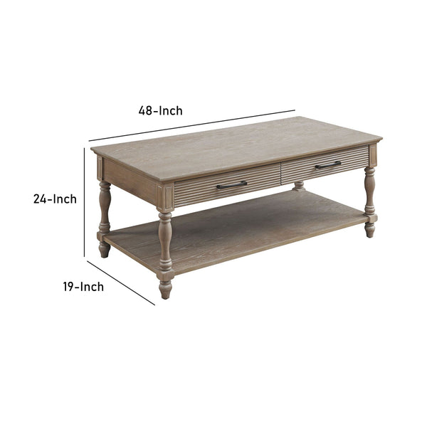 Wooden Coffee Table with 2 Drawers and Molded Design in Antique White - BM211091