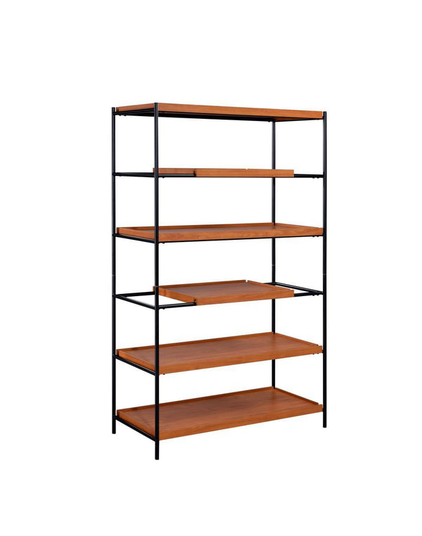 5 Tier Wooden Bookshelf with Open Metal Frame in Oak Brown and Black - BM211106
