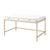 Wooden Desk with 3 Drawers and Metal Frame in Glossy White and Gold - BM211108