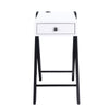 Wooden Frame Side Table with X Shaped Legs and 1 Drawer in White and Black - BM211110