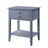 Rectangular Wooden Side Table with 1 Drawer and 1 Bottom Shelf in Gray - BM211115