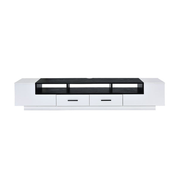 Contemporary 2 Drawer TV Stand with Media Compartments in Black and White - BM211123