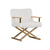 Faux Fur Steel Lounge Chair with Removable Cushion, White and Gold - BM211256