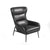 Curved Back Leatherette Lounge Chair with Metal Tubular Legs, Dark Gray - BM211260