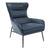 Curved Back Leatherette Lounge Chair with Metal Tubular Legs, Blue - BM211261