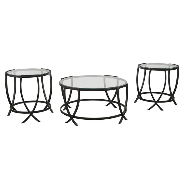 Contemporary Round Table Set with Glass Top and Geometric Metal Body in Black - BM213280