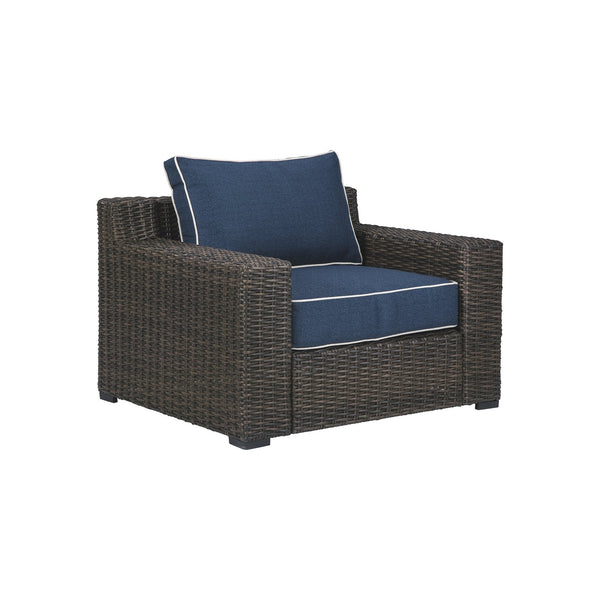 Resin Wicker Woven Lounge Chair with Track Armrests in Blue and Brown - BM213304