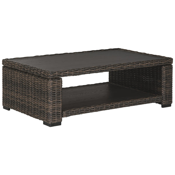 Wicker Woven Aluminum Frame Cocktail Table with Open Shelf in Brown and Black - BM213312