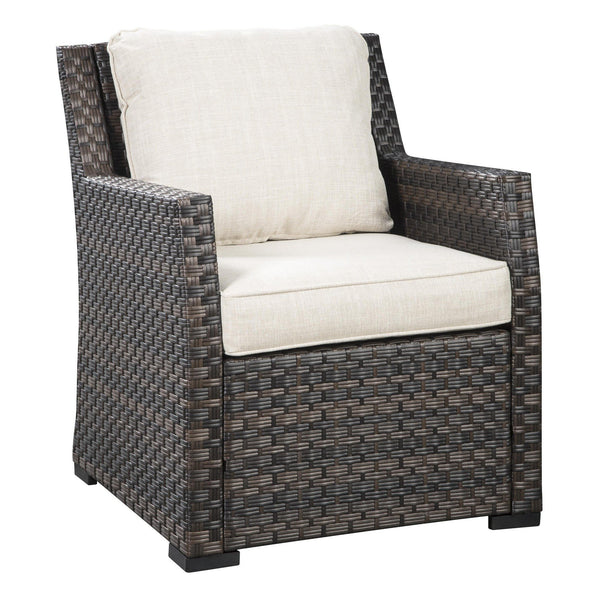 Resin Wicker Woven Lounge Chair with Track Arms in Brown and Beige - BM213360