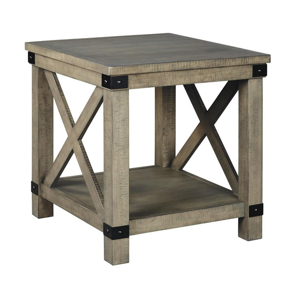 Farmhouse Style End Table with X Shaped Sides and Open Bottom Shelf in Gray - BM213373