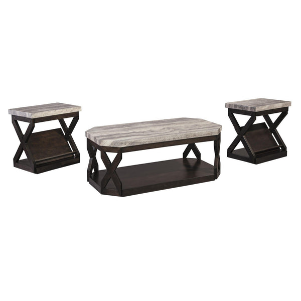 Faux Marble Table Set with 1 Coffee Table and 2 End Tables in Gray and Brown - BM213404