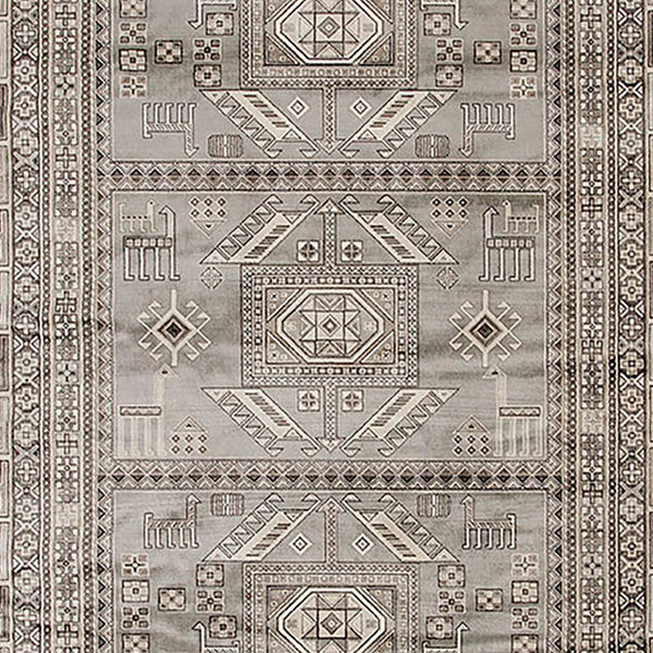 90 X 63 Inch Fabric Rug with Tribal Pattern and Jute Backing, Gray - BM214119