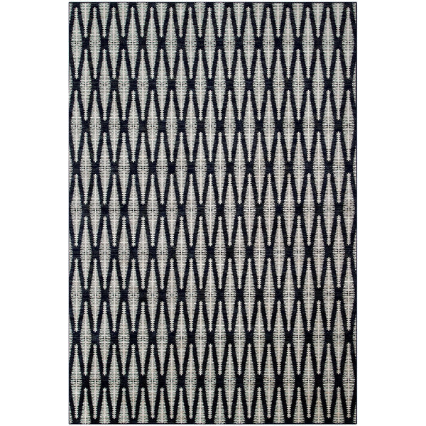 90 X 63 Inch Power Loomed Fabric Rug with Diamond Pattern, Gray and Black - BM214121