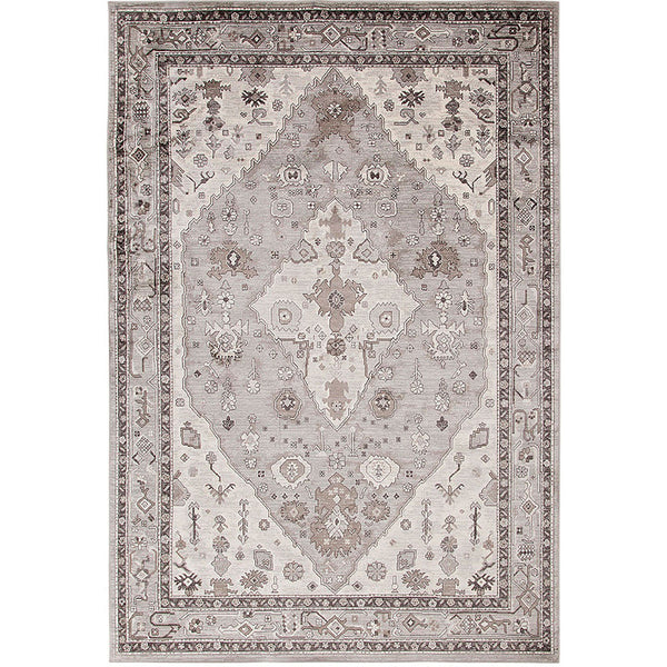90 X 63 Inch Power Cut Rug with Tribal Pattern and Jute Backing, Gray - BM214124