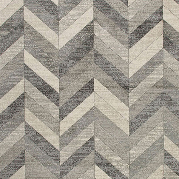 90 X 63 Inch Fabric Rug with Herringbone Pattern and Jute Backing, Gray - BM214129