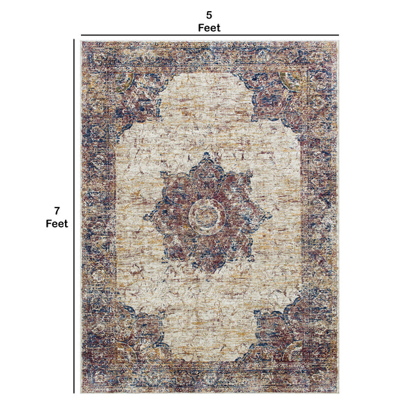 7 X 5 Feet  Polyester Rug with Woven Medallion Pattern, Beige and Brown - BM214141