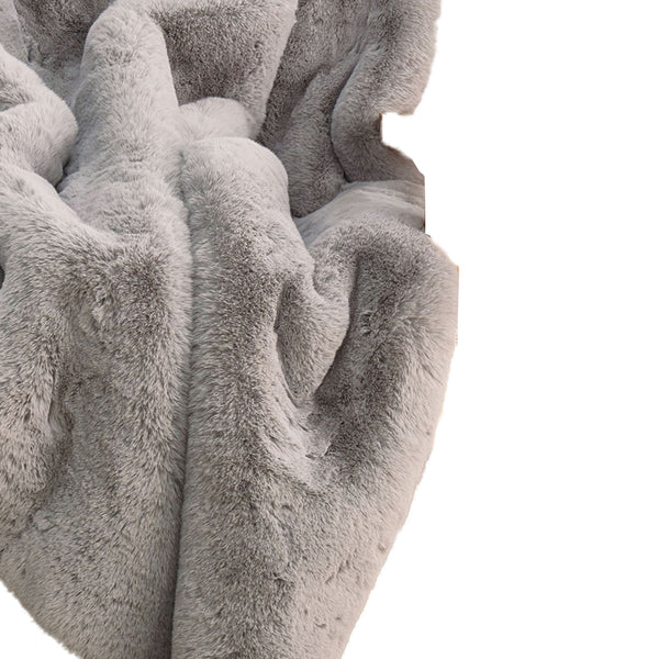 60 X 50 Inch Polyester Throw with Fur Like Texture, Light Gray - BM214150