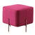 Fabric Upholstered Square Ottoman with Stainless Steel Legs, Pink and Gold - BM214766