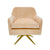 Fabric Upholstered Swivel Lounge Chair with Pleated Back and Arms, Peach - BM214865