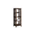 4 Tier Wooden Frame Bookcase with Slatted Side Panels, Brown - BM215635